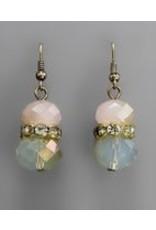 Golden Stella Crystal Cluster w/Teardrop Dangle Earring Pink Opal/Ant Gold
