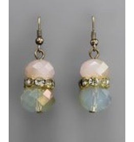 Golden Stella Crystal Cluster w/Teardrop Dangle Earring Pink Opal/Ant Gold