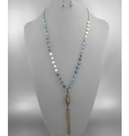 "Golden Stella 30"" Glass Bead & Pearl Necklace & Earring Set w/ Chain Tassle Blue & Cream Pearl"