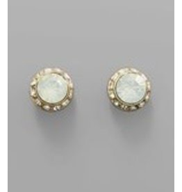 Golden Stella Round Crystal with Crystal Paved Trim Earrings White Opal/Gold