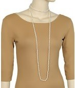 """Golden Stella 60"""" Long Knotted 6mm Glass Bead Necklace"""