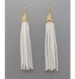 Golden Stella Glass Tassel Earrings White Gold