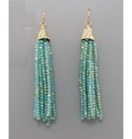 Golden Stella Glass Tassel Earrings Turquoise Gold