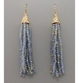 Golden Stella Glass Tassel Earrings Blue Gold