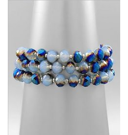Golden Stella 3 Layer Glass Bead Bracelet Multi Blue