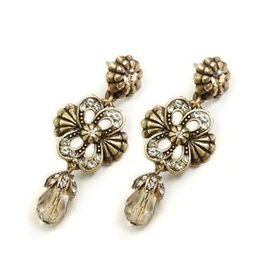 Sweet Romance Victorian Knot Earrings Crystal