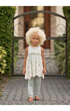 Isobella & Chloe 2pc Lace Overlay Tunic & Pant Set