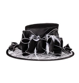 Something Special LA Med Brim Lace Satin Crushable Hat - B/W