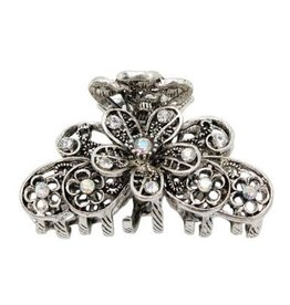 Something Special LA Flowered Diamond Hair Claw Clip-Silver