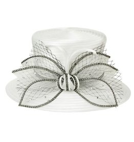 Something Special LA White Satin Ribbon Hat Black Rhinestones Accents