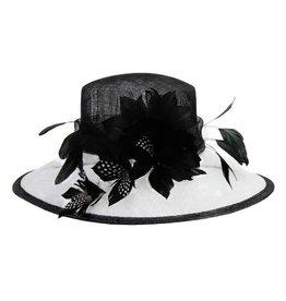 Something Special LA Large Brim 2 Tone Sinamay Hat B&W