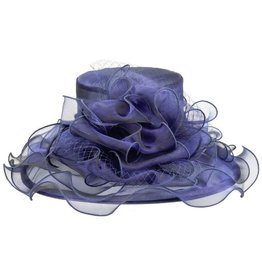 Something Special LA Ruffled Edge with Bow Crushable Hat Cobalt