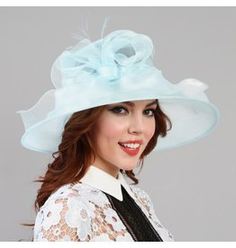 Something Special LA Ruffled Edge with Bow Crushable Hat Oval Shape Baby Blue