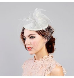 Something Special LA Ivory Disk Fascinator with Mesh Veil/Feathers