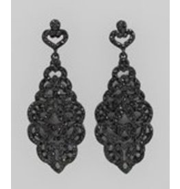 Golden Stella Paved Crystal Scroll Earring Black