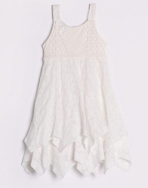 Isobella & Chloe Handkerchief Hem Eyelet Lace Dress White