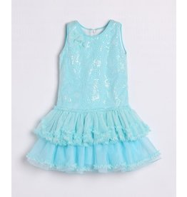 Isobella & Chloe Sequins Bodice & Tulle Drop Waist Dress