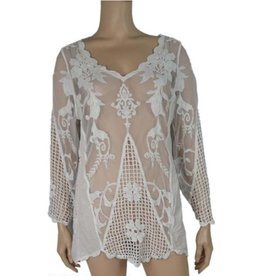 Pretty Angel Sheer Lace Overlay with Wide Sleeve Plus White
