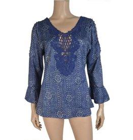 Pretty Angel Bell Long Sleeve Crochet Neckline Top Blue