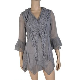 Pretty Angel Lace Panel & Collar Sheer Sleeve Grey