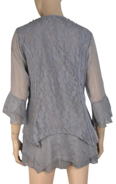 Pretty Angel Lace Panel & Collar Sheer Sleeve Grey