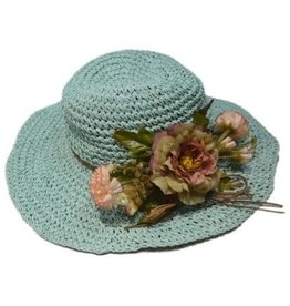 Pretty Angel Floppy Floral Accent Hat Aqua