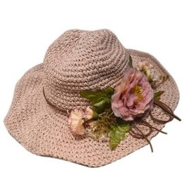 Pretty Angel Floppy Floral Accent Hat Peach