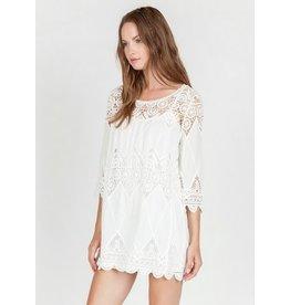 Monoreno 3/4 Sleeve Crochet Lace Scallop Edge Dress w/ Slip O/W