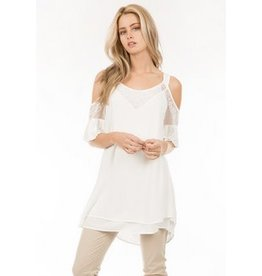 Monoreno Cold Shoulder Sleeve Layerd Embroidered Tunic White