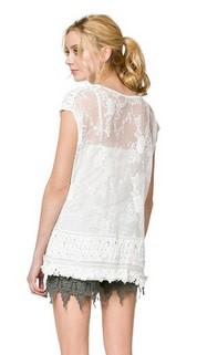 Monoreno Lace Layered Fringe Top 2pc Off White