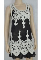 Pretty Angel Sheer Embroidered Overlay Black/White