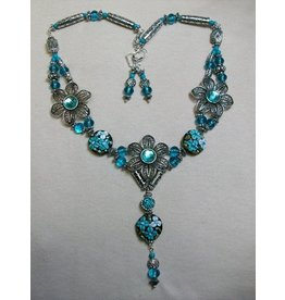 Sharon B's Originals 3 Silver & Aqua Flowers w/Aqua Lampwork Beeds ER & Necklace Set