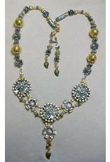 Sharon B's Originals 3 Silver & Gold Flowers w/Floral Slides ER & Necklace Set