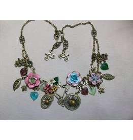 Sharon B's Originals Ant. Gold Bicycle Pendant w/Multi Enamel Flowers