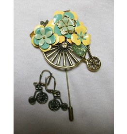 Sharon B's Originals Ant. Gold Unicycle Stick Pin w/ Yellow & Green Flowers w/Earrings