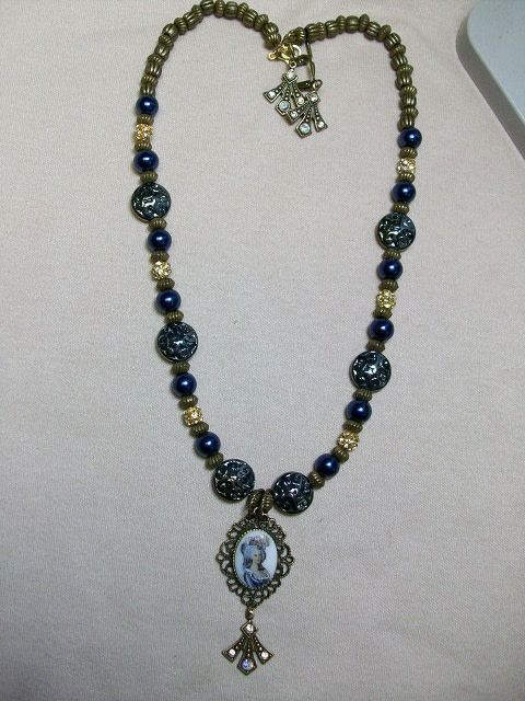 Sharon B's Originals Marie Antoinette Cameo w/ Royal Blue & Gold w/ Earrings