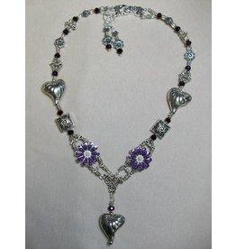 Sharon B's Originals Silver Hearts w/ Purple Enamal Flowers Necklace & Earrings