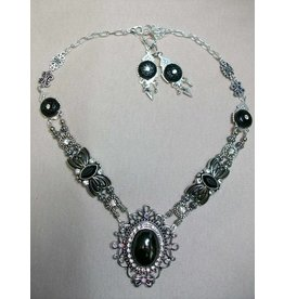 Sharon B's Originals Silver Large Oval Black Cabochon & Black Beads Necklace & Earrings