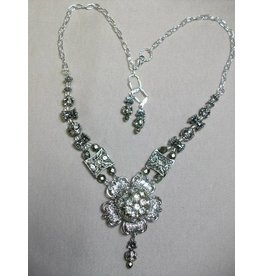 Sharon B's Originals Silver Flower w/ Large Vintage Crystal Button Center Necklace & Earrings