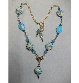 Sharon B's Originals Antique Gold w/ Blue & Tan Lampwork Beads Necklace & Earrings