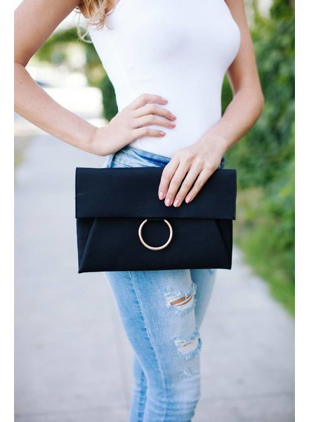 Macey Black Clutch