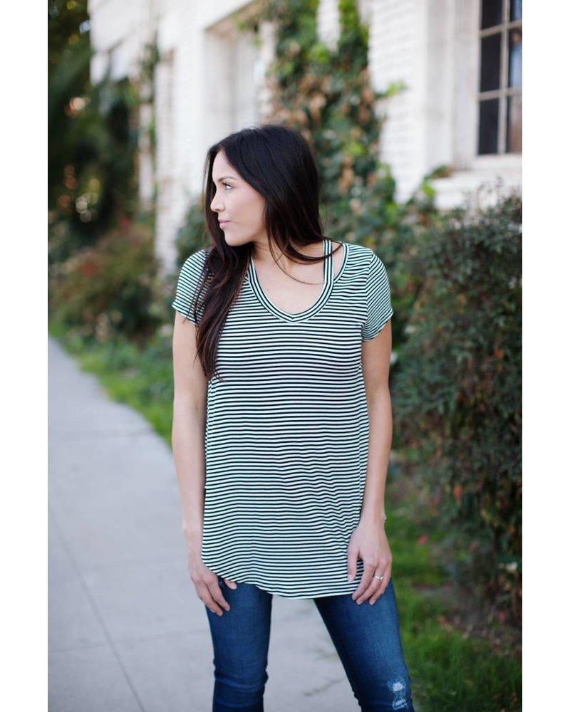 Joshi Stripe Cut Out Tee