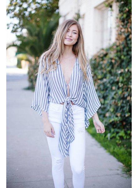 White Stripe Tie Blouse