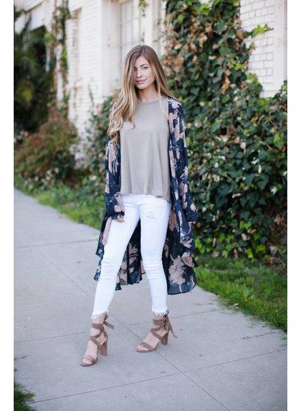 Haley Charcoal Duster Kimono