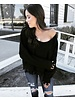 Trace Black Fringe Sweater