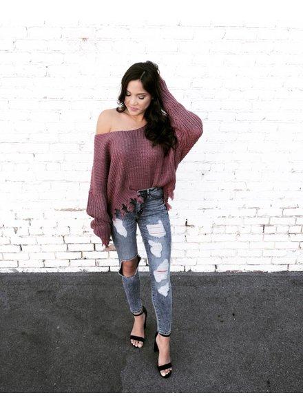 Trace Marsala Fringe Sweater