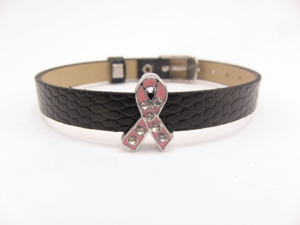 Sliding Charm Breast Cancer Pink Ribbon