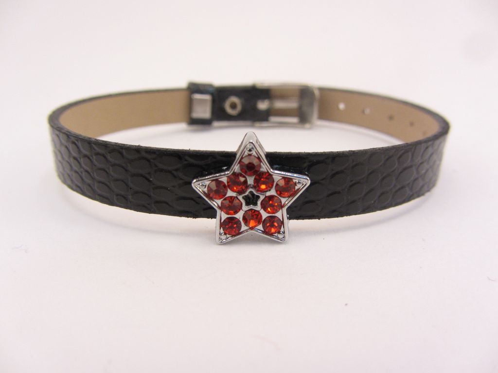 Sliding Charm Red Rhinestone Star