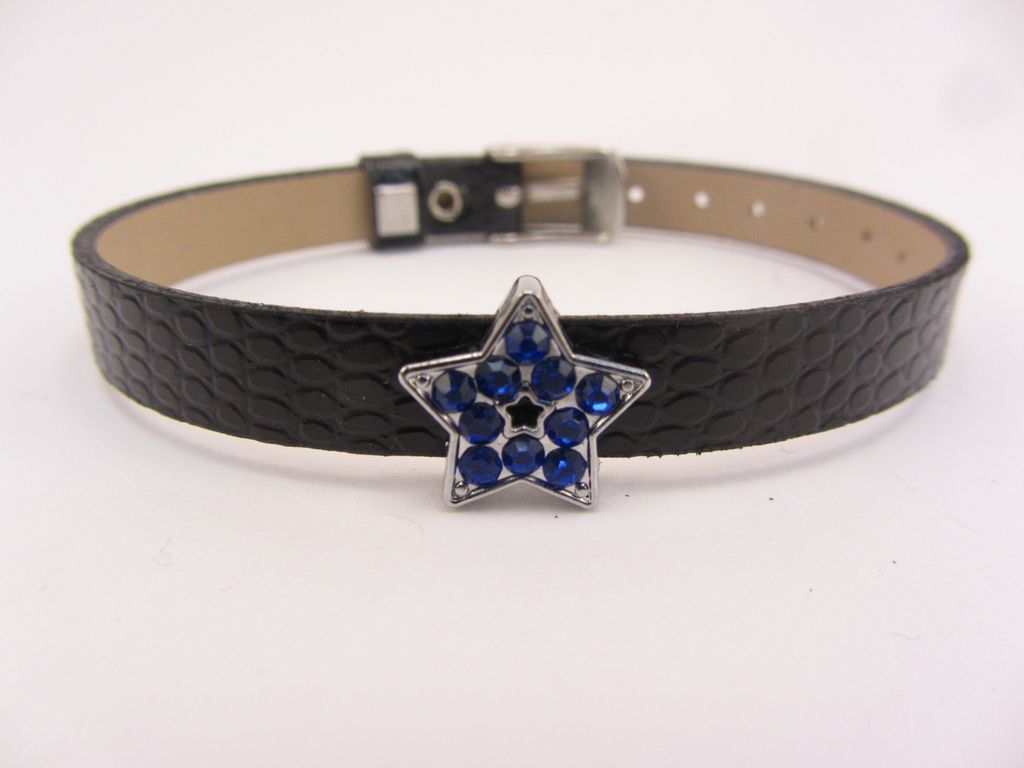 Sliding Charm Blue Rhinestone Star