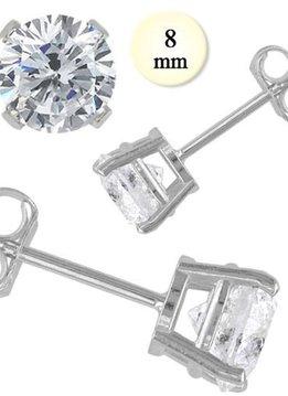 8mm Sterling CZ Earrings